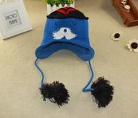 2015 New Kids Winter Cap Blue Color Christmas Mustache Cap Original order Carton Cap 4 size 47cm,49cm,51cm,53c