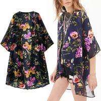 Woman Summer Retro Perspective Colorful Flower Print Chiffon Kimono Loose Cardigan Blouse Shirt No Button Blouses Tops New