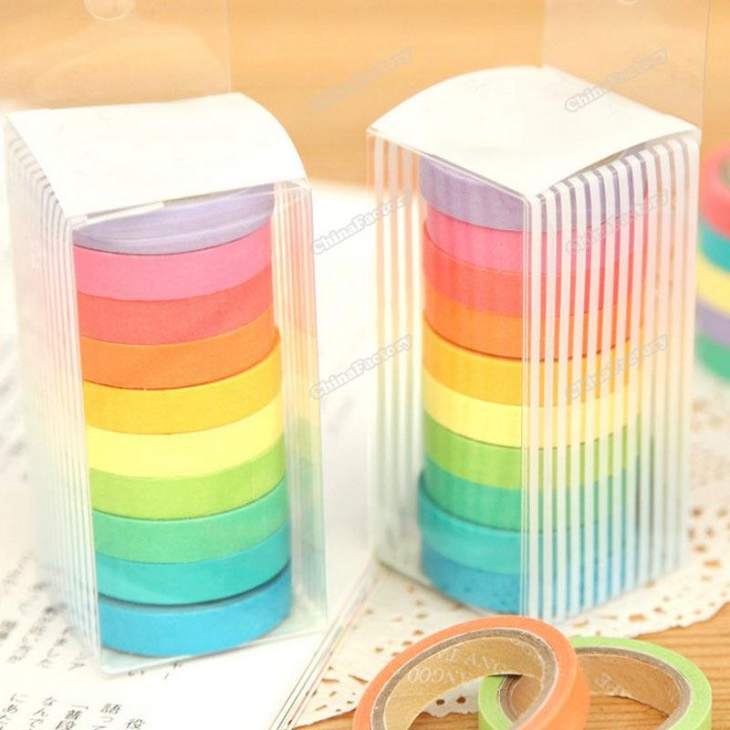 chinafactory quality assurance 10Pcs DIY Craft Decor Rainbow Paper Masking Scrapbooking Adhesive Sticky Tape buying quickly(China (Mainland))