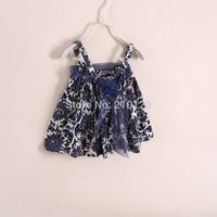 new fashion Blue and white porcelain the dress with shoulder-straps ! e041333. 6 pcs/lot