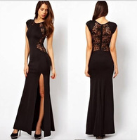 Sexy Fashion O-neck Full-Length Sleeveless Nightclub Dress Nice Lace for Confident Woman New Vestido Hot Sell Free Shipping