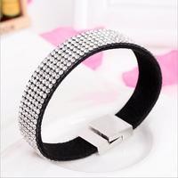 Fashion Rock  Crystal Bracelet Of  Women,Cloth And Rhinestone Bangles,Women's Western Luxury Element Bangle