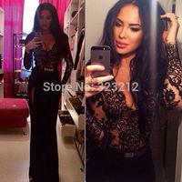 Fashion popular tight fit dresses women high split long dress lace celebrity bodycon dress vestidos