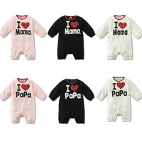 New Arrival! I Love MAMA & DADA Baby Autumn-Winter Hooded Romper Grow Sleeve Rompers Jumpsuit Baby Climb Outfit Costume 2 Color!