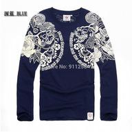 Famous Brand Rock Floral Printing Men Plus Size Casual 3D Long Sleeve T-shirts 3 Colors Cotton Tees Asian Size M-4XL FS3222
