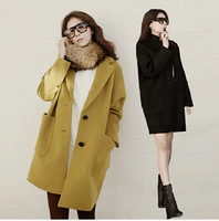 2015 women's new winter fashion  loose warm wool long coat 2 colors