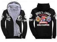 Famous Brand Men baseball Hooded Hoodies Winter Thick Warm Rock Hoodies Stylish Printing Asian Size M-3XL FS3225