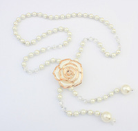Small fragrant sweet sweater long necklace chain jewelry wholesale roses 3 pieces one lot SC-26