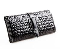 100% Genuine Leather Women's Crocodile Pattern Long wallet Card Phone Holder Casual Purse