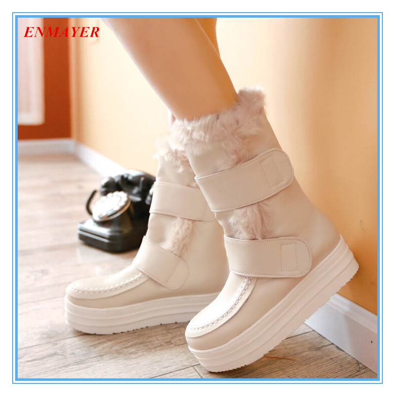 ENMAYER Free shipping beautiful snow boots Hook&Loop+lapel wool Platforms shoes forgirl warmBreathable thick Mauri winter boots (China (Mainland))