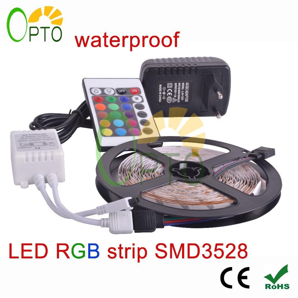 Waterproof LED RGB strip light SMD3528 IP65 Fiexble Light 60LED/M 5M DC 12V Adapter Power 2A Free shipping RGB strip lamp bulb(China (Mainland))
