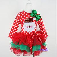 New 2014 Girl Christmas Dress Merry Christmas Santa Dresses Kids Cotton Dot Casual Dress Girls Tutu Dress Girl Clothes Costume