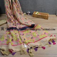 Acc national trend beads tassel scarf fluid ultralarge cape silk scarf14120307