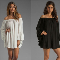 Loose Sexy Chiffon Blouse Shirt Bustier Style White Black Women Tops Body Clothing Roupas Camisas Casual Blouse Blusas Femininas