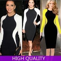 Women Winter Dress 2014 New Full Sleeve Sexy O Neck Slim Pencil Dress Midi Elastic Dress Clubwear Evening Party Dresses Vestidos