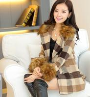 fourrure New Women Korean long section Nagymaros collar Slim woolen coat woolen coat fashion Plaid