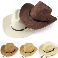 2015 Hot Womens Mens Unisex Fashion Fedora Trilby Panama Summer Straw Wide Brim Foldable Sun Beacn Cowboys Hat Cap 5 Color  A2