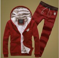 4 color 2015 WinterAutumn Thick Warm Mens Brand comfort single Men's suit Fleece sweater pants hoodies sport set. Free shipping