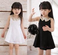 Retail 1 Pcs New 2015 Girl Party Dress Princess Baby Kids Bling Bling Sunshine Dresses Girls Summer Dress Top Quality 3-7Y TZ46