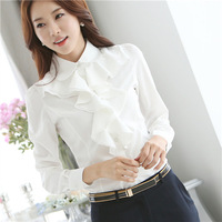 Quality Chiffon Blouse Shirts White Color Plus Size Camisas Femininas Brand Women Clothing Blusas Roupas Body Tops Casual Blouse