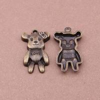 2015 Wholesale Metal Bear Charms Women's Alloy Jewelry Bear Charms 50pcs/bag