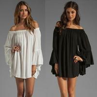 Brand New 2014 European Style Women Boho Dresses Chiffon Off Shoulder Flare Sleeve Sexy Dress White,Black Tropical Casual Dress