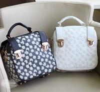 PU Leather Cute Snowflack Printed Women Bolsas Mochilas Femininas Kawaii Women Casual Mini Kanken Bags With Handle