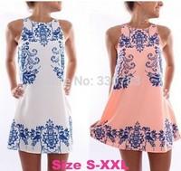 2014 casual dress latest dress designs tropical flower print dress china imported clothes roupas femininas vestidos femininos