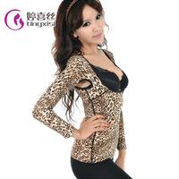 Tingxisi Female Leopard Shapewear Women Body Sculpting Clothing Long Sleeve Winter Warm Underwear L XL XXL XXXL Free Shipping