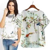 2015 Women Chiffon Shirt Spring Summer T-shirts Loose O-Neck Pullover Short Sleeve Cute Fashion Tops Blouse CL2106