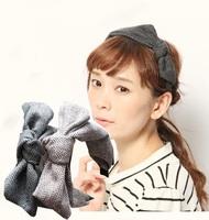 2015 NEW cotton plaid stripe design bow handmade japan style fashion metal headband hairbands hair accessories