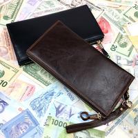 Luxury Vintage Designer Casual 100% Real Genuine Leather Cowhide Men Long Wallet Wallets Purse Men's Clutch Bag Coin Card Holder