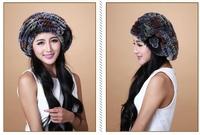 women hats winter 2014  new design korean style beautiful rex rabbit fur cap lady  beret flower  beanie free size free shipping