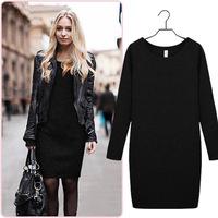 Women Winter Dress 2014 New Fashion Solid Casual Dress Long Sleeve O-neck Bottoming Dresses 3XL Vestidos Black/Blue/Gray