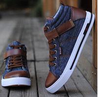2015 Men's Sneaker PU Leather Casual Denim Canvas Sneaker Shoes high top Male Shoe zapatillas hombre breathable Fashion Sneakers