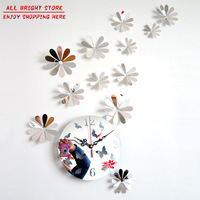 HOT Fairy & Butterfly Mirror Wall Clock for home children Bedroom decoration DIY Free shipping