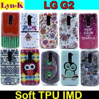 Sexy Pattern Cute Sleeping Owl Flower Elephant Soft TPU IMD Back Cover Case Fundas Capa Para for LG G2 Optimus D801 D802 Cases