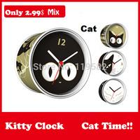 2015 Wholesale DIY Cat White Black Kitty Gifts Kitty Clocks Magnetic Wall Clocks in Round Clock Mix Design Moq 100PCS