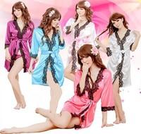 2014 Hot Among Ladies High Quality Silks and Satins Fabric Sleepwear Sexy Lingerie Women Lace Underwear NightWear