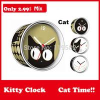 2015 Wholesale DIY Cat White Black Kitty Gifts Clocks Magnetic Wall Clocks in Print Round Clock Mix Design Moq 100PCS