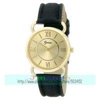 100pcs/lot GENEVA Brand Excellent Design Ladies Casual Watch Fashion Big Number Circle Leather Watch Wrap Quartz Dress Watch