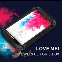 LOVE MEI Powerful waterproof  Shockproof  Corning gorilla glass+Aluminum Metal Armor case for LG G3 D850 D851 D855 LS990