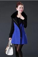 fourrure 2014 new women's autumn and winter long section of wool woolen coat Korean Slim luxury cashmere coat was thin