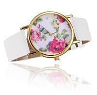 New Fashion GENEVA Rose Flower Watches Women Dress Watch stylish women casual watch Quartz Watches  ,free shipping