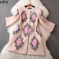 Women Casual Elegant Ethnic Green/Apricot Wool Flower Embroidery Long Coat,Ladies Brand Overcoat 2014 Autumn Winter New European