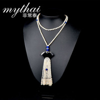 Thai original design S925 silver inlaid natural black agate Pearl girls long necklace
