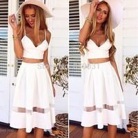 Summer dress 2015 Women Plus Size S-XL Midi Dress Long  Sexy Club Party Two Piece Spaghetti strap  Dress