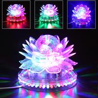 6W RGB LED Transparent Solar Lotus Light Suitable for Family Party / Park / KTV