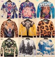 [Magic]2014 Hot ! Animal print casual hoodies long sleeve o neck 3D sweatshirts men sweatshirt 21models size S-XL free shipping