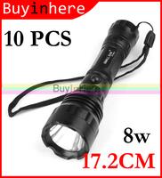 10PCS 17.2cm Super Bright Cree Waterproof 8w Led Light Lamp 2000 Lumens Flashlight Torch Bulb Aluminum Alloy By 3aaa Battery